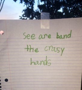 Go see my niece's band Crasy Hands if you're ever at my brother's house
